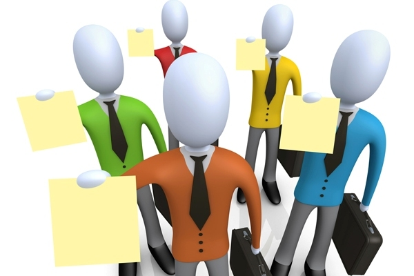 Royalty-free 3d computer generated business graphic of a group of businessmen in colorful shirts, carrying briefcases and holding their resumes up at a job interview. It is a full-color employement clipart picture on a white background.